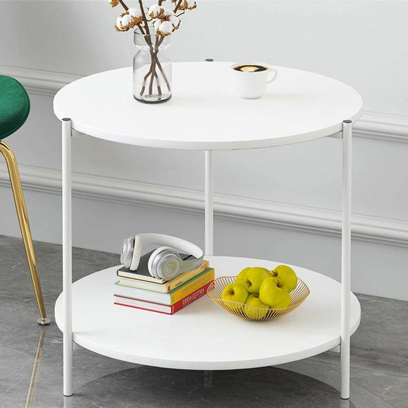 RuYiYu - 40X42cm, 2 Layer Round Coffee Table, Multi-color Optional, White Metal Frame, Coffe Table