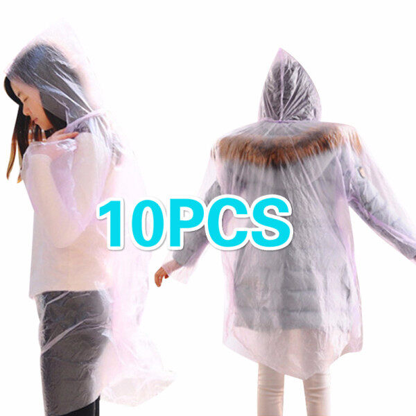Kerui Limited Stock 10PCS Disposable Raincoat Outdoor Hiking Mountain Travel Thicken Adult Transparent Poncho Ultralight Protective Suit Men and Women Universal