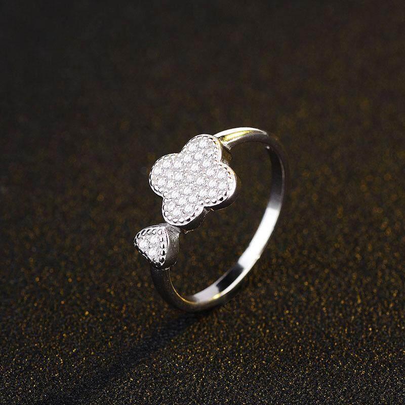 S925 sterling silver Korea fashion emas putih micro-bertatahkan berlian beruntung cinta empat daun semanggi