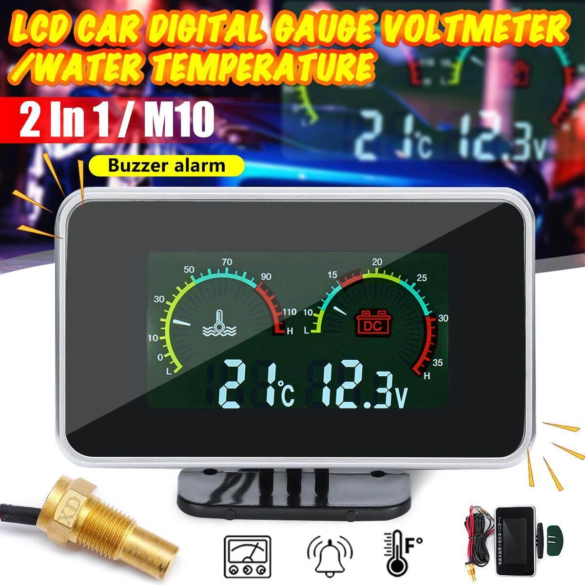 【Free Pengiriman + Flash Deal】2in1 LCD Alat Pengukur Digital Tegangan Tekanan/Suhu Air Meter W/Alarm M10-40-50 ℃