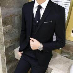 (Áo Khoác + Quần + Áo) năm 2018 Nam Phù Hợp Với Kinh Doanh Áo Cộc Tay Áo Khoác Form Rộng Phối Nam Bộ Đồ Nam Cưới Chú Rể Tuxedos 3 Mảnh