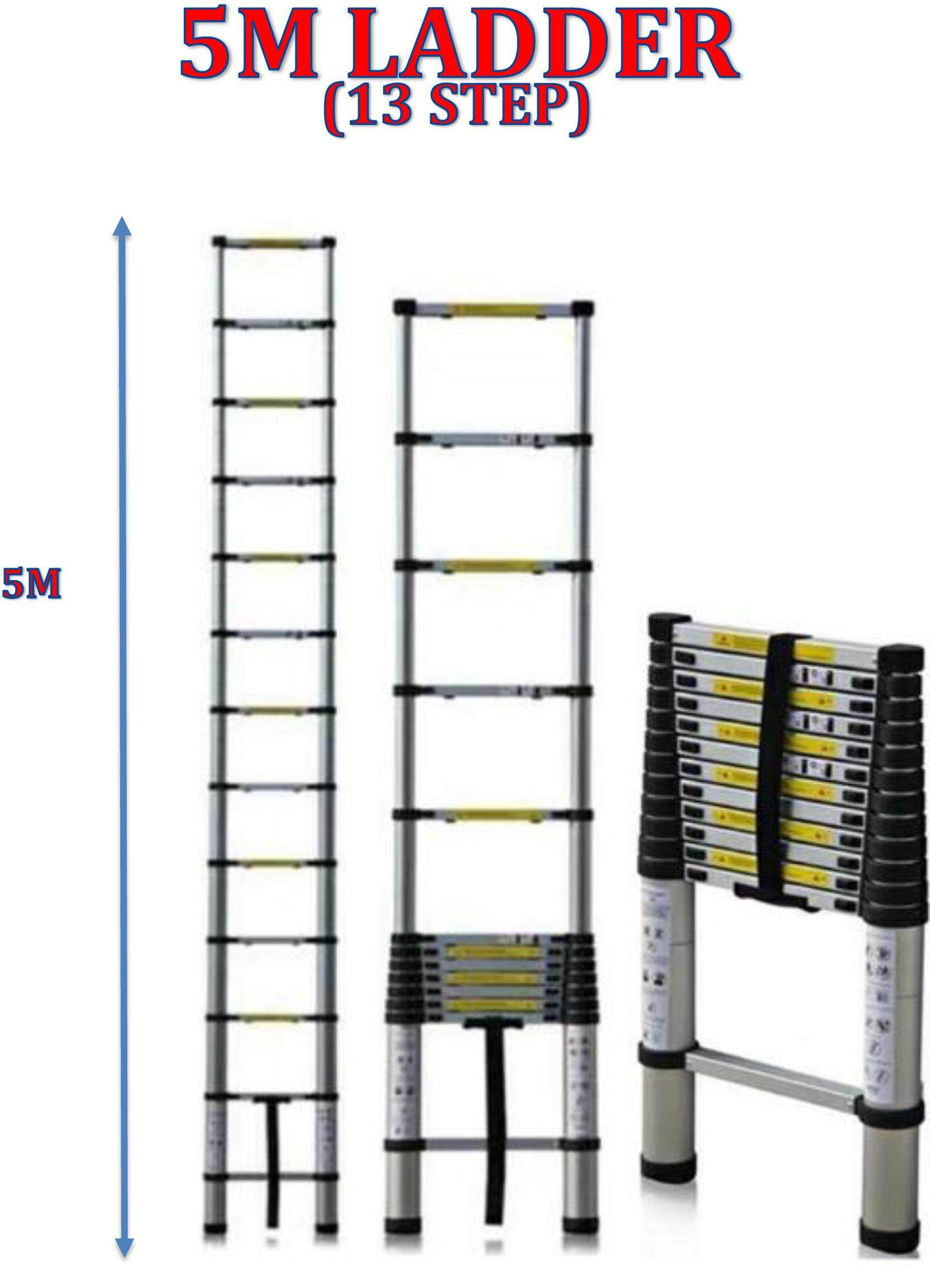 HIGH QUALITY ALUMINIUM TELESCOPIC EXTENDABLE LADDER 5M WITH 13 STEPS
