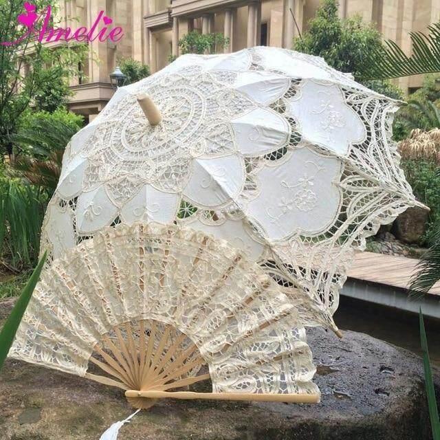 Parasol de encaje de Battenburg hecho a mano para boda y juego de abanico paraguas de boda,A0101 beige