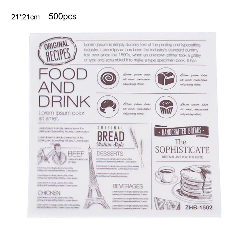 500pcs Oil-proof Greaseproof Papers for Baking Pastry Bread Sandwich Burger Hamburger Wrapping Plate Basket Liner