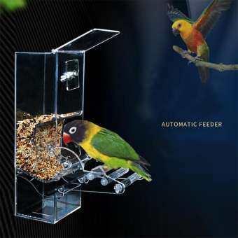 อะคริลิคอัตโนมัติตัวป้อนนกแก้ว PET เครื่องให้อาหาร - เมล็ดกล่องใส่อาหารอุปกรณ์เสริมกรงนกสำหรับ parakeet นกแก้ว Canary Cockatiel-