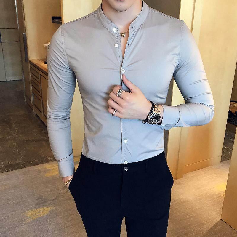 Man Fashion Casual Slim Fit Shirt Solid Long Sleeve Stand Collar Dress Shirts