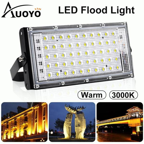 Auoyo LED Flood Light 220V Outdoor Lighting IP66 Waterproof 50W Floodlight White/Warm Landscape Lamp Spotlight Super Bright Security Lamp for Garden Street
