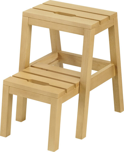 BEKVÄM SOLIDWOOD Step stool / functional stool / step chair in natural color height-50cm