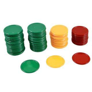 Red Yellow Green Round Shaped Mini Poker Chips Lucky Game Props 69 Pcs thumbnail