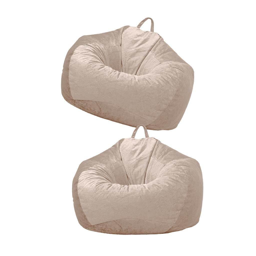 BolehDeals 2 Brown_1 Chairs Sofa Cover Velvet Lazy Beanbag Cover for Bedroom 90x110cm