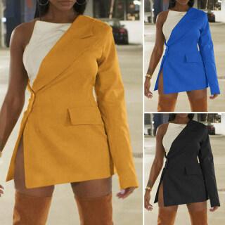 (Phong Cách Phương Tây) VONDA Đầm Blazer Mini Ôm Sát Một Vai Cho Nữ Áo Khoác Blazer Trang Trọng Dự Tiệc Màu Trơn Mỏng Xẻ Tà Bên Hông thumbnail