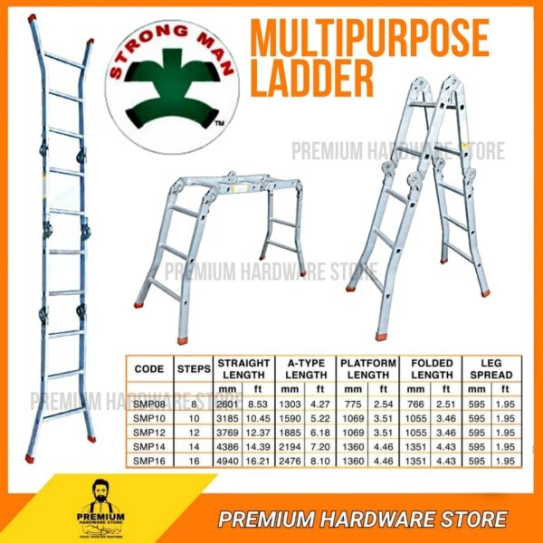 Heavy Duty Aluminium Multi Purpose Ladder - Tangga Lipat (8 Step, 12 Step, 16 Step, 20 Step)