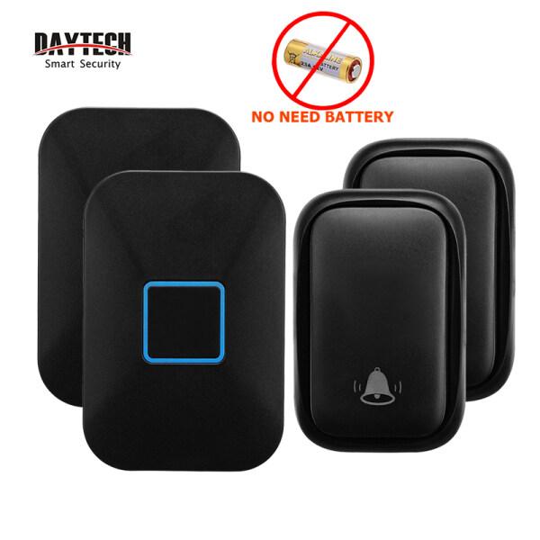 DAYTECH Self Power Doorbell Door Bell Wireless Waterproof No Battery Loceng Rumah 60 Tones 5 Volumes 150M Range Calling Bell For House/Home/Office/Elderly/Patient 2 Receiver With 2 Bell UK PLUG DB09