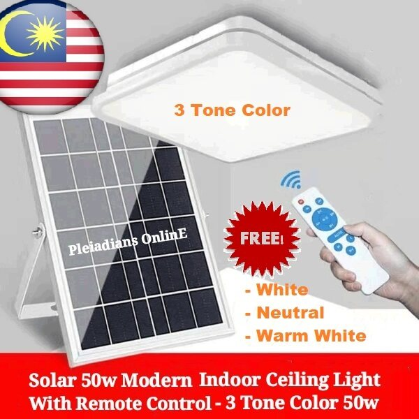 👉READY STOCK👉🇲🇾 Solar 3 Tone Color 50w 25w Modern Indoor Ceiling Light Lamp With Remote Control pelita lampu
