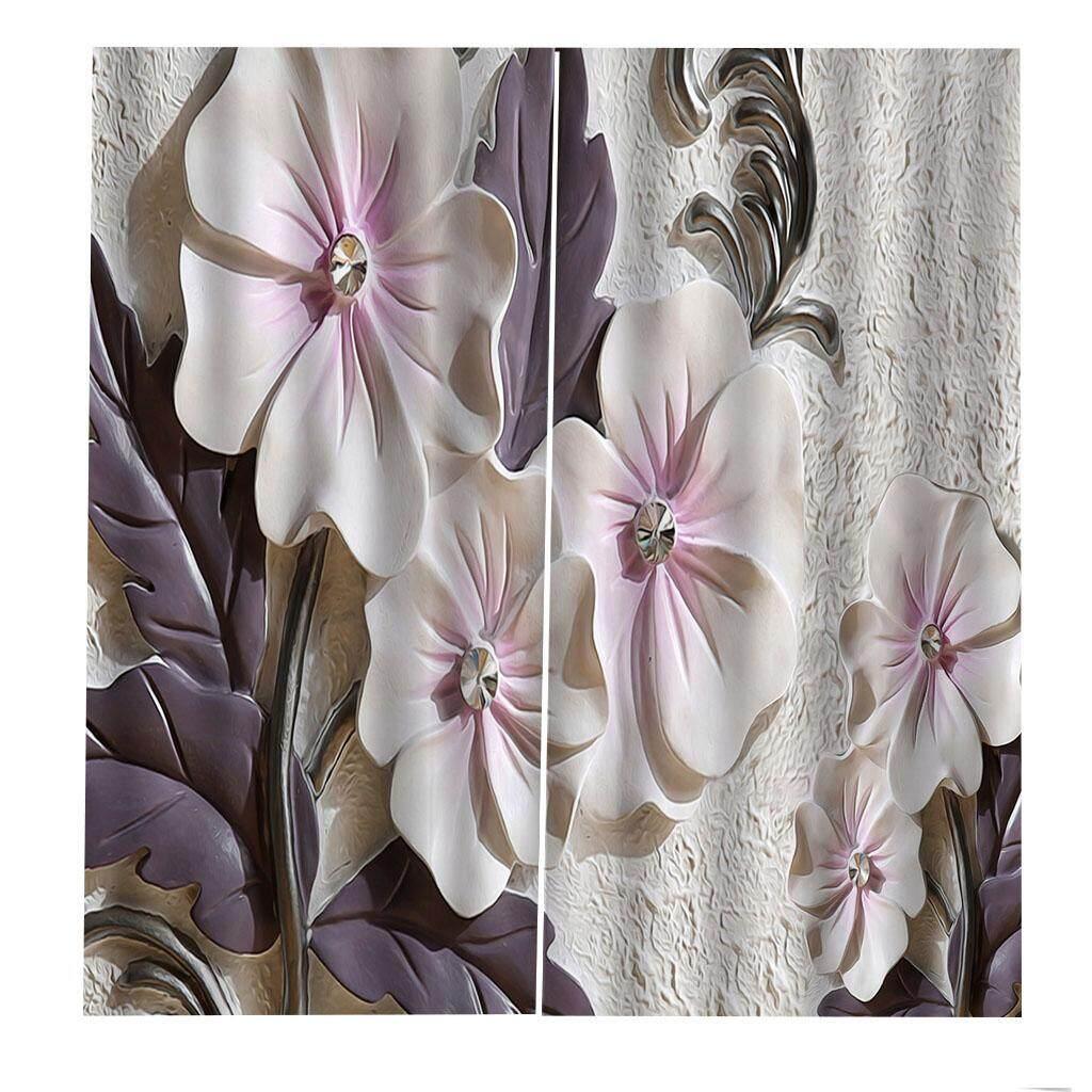 Dolity 2 Panels Digital Printing Light Reducing Curtain 3D Flower Living Room Decor