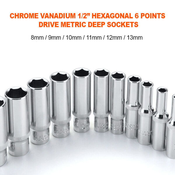 66 Happy Tool Ready Stock 1/2 Drive 8-13mm Hex Deep Socket Wrench Head 6 Point Long Sleeve for Ratchet Wrench Auto Repair Hand Tool Nut Removal