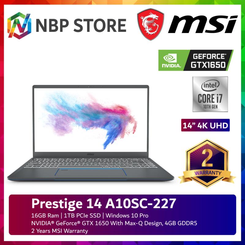 MSI Prestige 14 A10SC-227 14 4K UHD Laptop Carbon Gray ( i7-10710U, 16GB, 1TB SSD, GTX1650 4GB Max-Q, W10P ) Malaysia