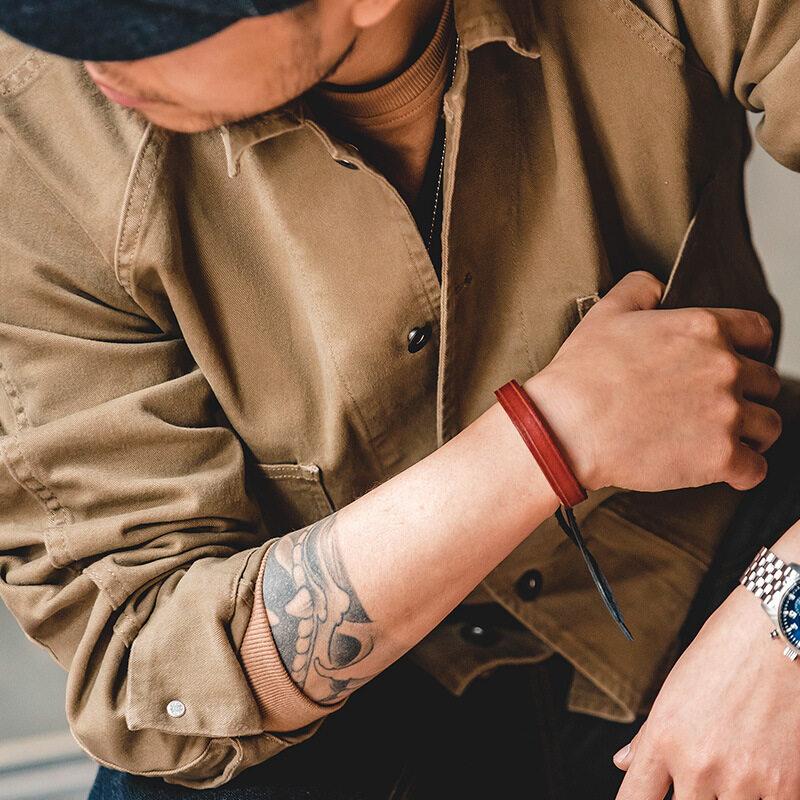Maden ยี่ห้อชายหนุ่มเครื่องมือสไตล์ Tough Guy 1920s Retro Retro ปารีสปุ่มสี่เสื้อแจ็คเก็ต Lapel Tough สุภาพบุรุษ Vintage Mature เสื้อแจ็คเก็ตลำลอง.