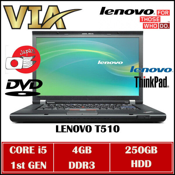 Buisness Laptop LENOVO ThinkPad T510 CORE i5 1st GEN~4GB DDR3~250GB HDD~W7~DVD~Wifi Ready~ Malaysia