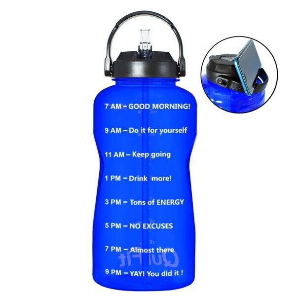 [CW] Miệng Rộng Chai Nước Tritan QuiFit 2L 3.8L Với Ống Hút Mốc Đánh Dấu Thời Gian Không Chứa BPA Ấm Đun Nước Thể Thao Phòng Tập Thể Dục Ngoài Trời Chai Cách Nhiệt