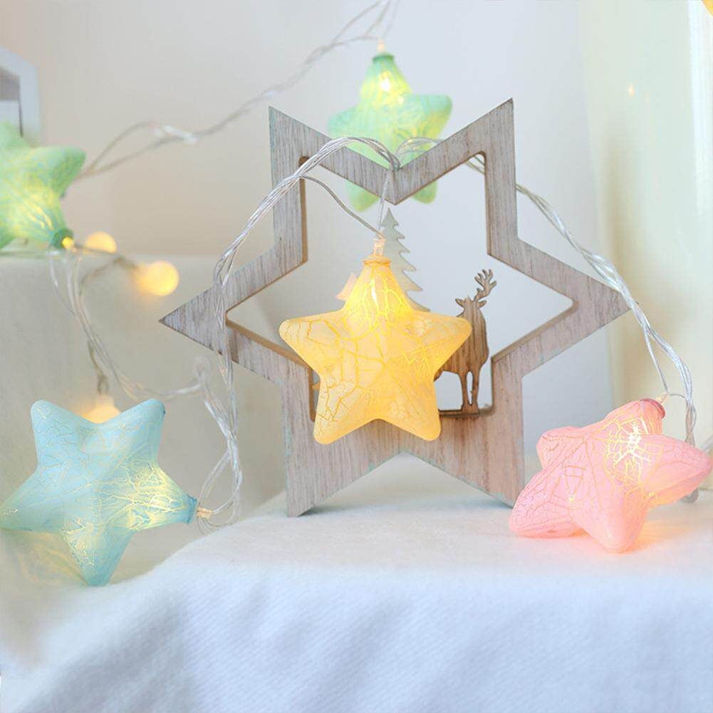 XN 2019 New Christmas Mutilcolor LED Crack Star String Light Battery Operated Christmas Lamp Holiday Lighting Decorative Light String Chains