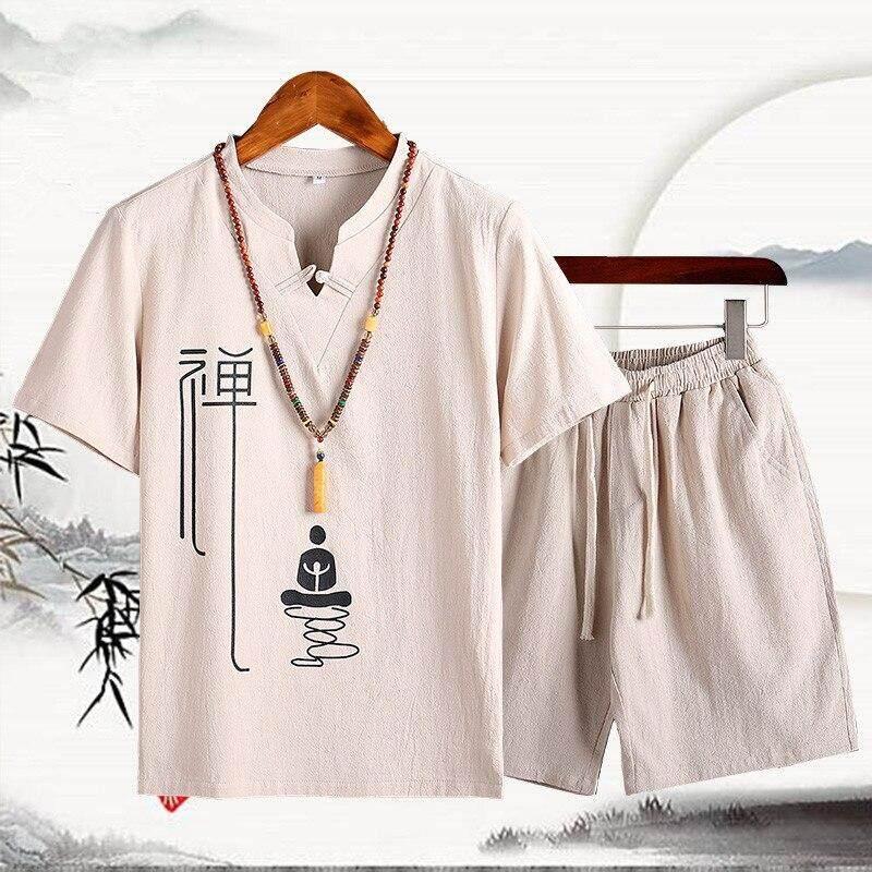 ẤM CÚNG LÊN Trung Quốc nam phong cách Phật cotton ngắn tay cổ chữ V quần short phù hợp với Đường phù hợp với mùa hè mới cotton 2 miếng