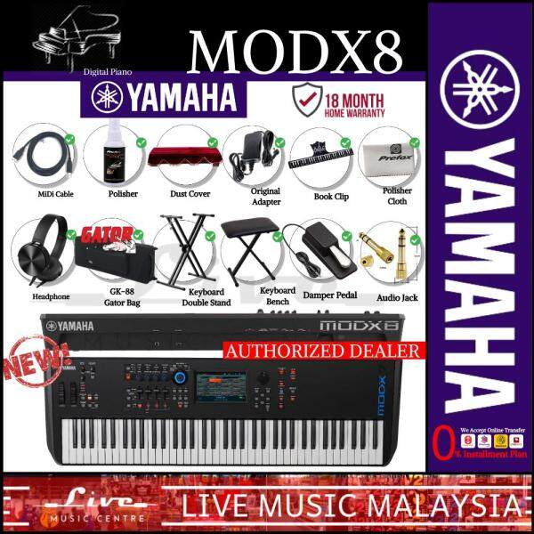 Yamaha MODX8 88-Key Synthesizer w/Gator GK-88 Bag, Keyboard Stand, Bench, Damper Pedal and Adapter (MODX 8/MODX-8) Malaysia