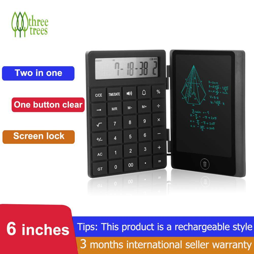 [New Arrival] Threetrees 6.0 Inch LCD 2 in 1 Multi-Function Calculator Writing Tablet Note Pad Counter Writing Board Digital Drawing Tablet ,Suit For Office Home