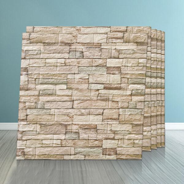 ISintool (Hàng Có Sẵn) Miếng Dán Tường DIY Chất Lượng Cao Hình Tam Điểm 3D 70X77, Giấy Dán Tường Tự Dính Chống Thấm Bọt PE