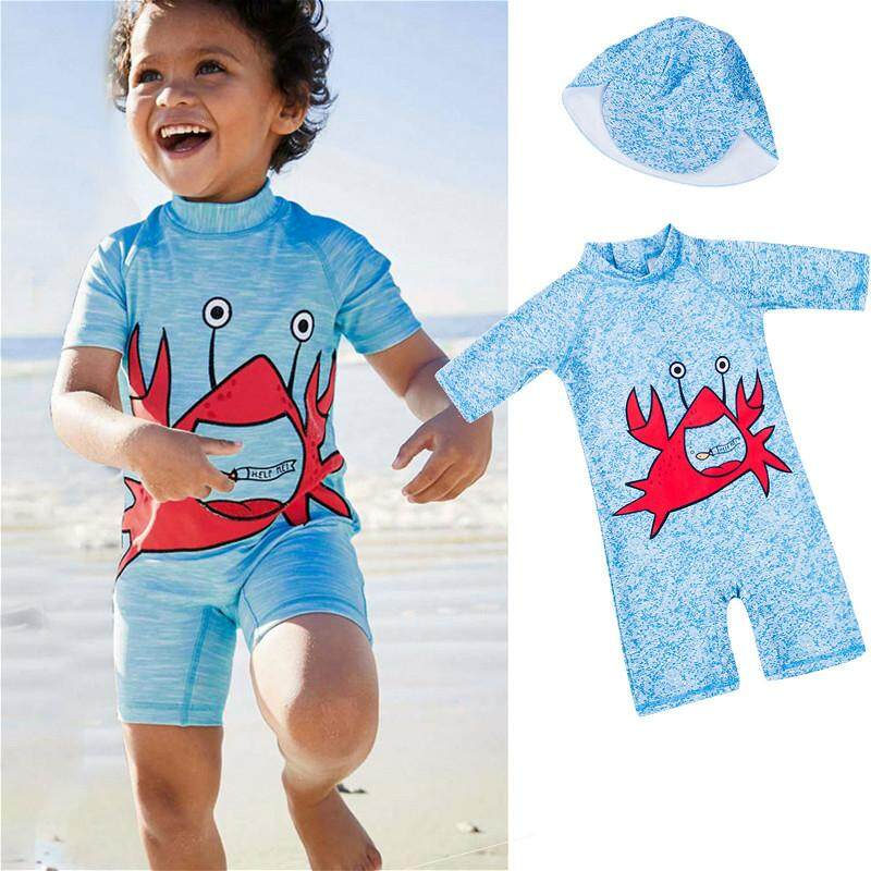 0d23b25da6 2pcs Cute Baby Kids Boys Girls Summer Beach Swimwear Long Sleeve One-piece  Swimsuit+