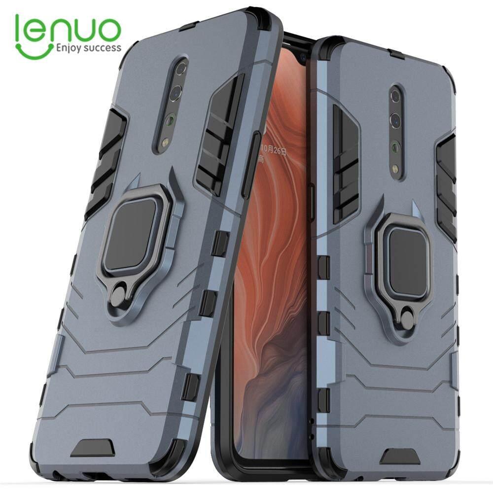 Daftar Baru Lenuo untuk Oppo Reno Z Case-Silicone TPU dan Keras PC Lapisan Ganda Berat Tugas Anti Guncang Pemegang Cincin Logam Penutup Sarung Telepon Genggam