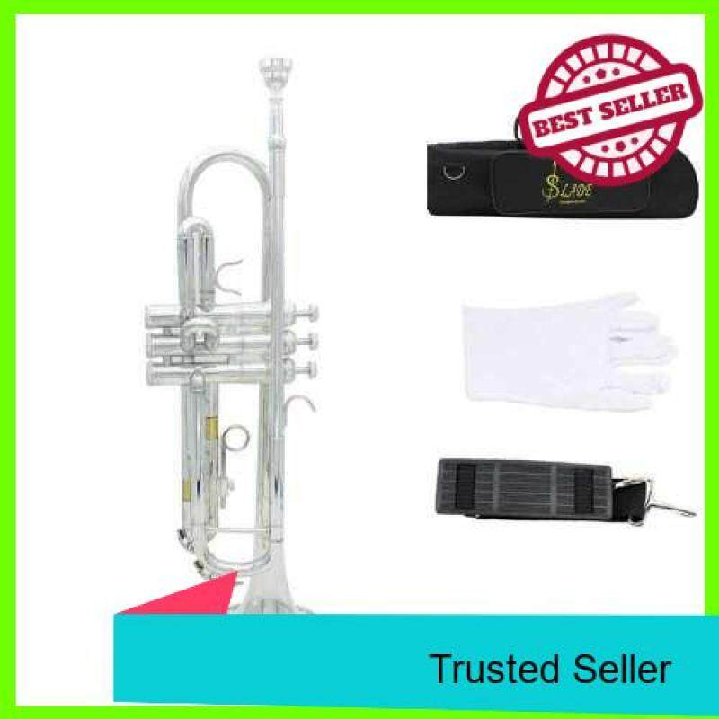 Trumpet Bb B Flat Brass Exquisite with Mouthpiece Gloves (Silver) Malaysia