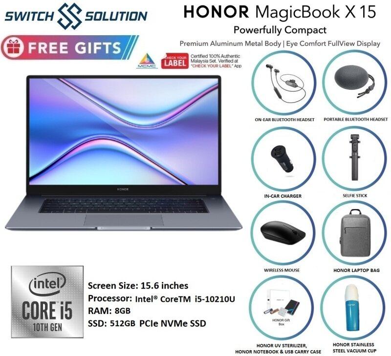 HONOR MAGICBOOK X15 INTEL I5 8GB + 512GB / 2 YEARS HONOR MSIA WARRANTY WITH FREEBIES Malaysia