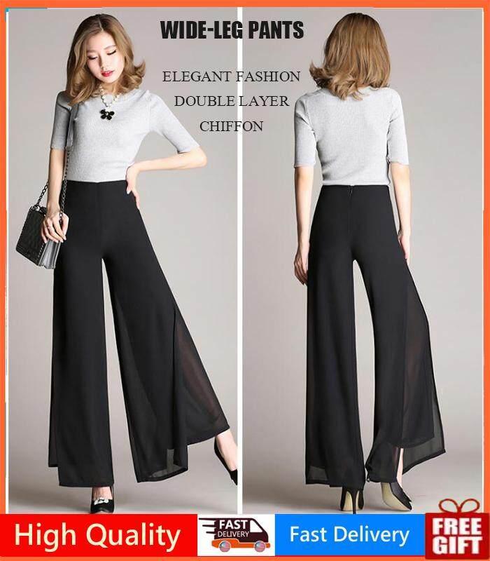 cf2c2a6505 Women Wide-leg Pants New Korean High Waist Double Chiffon Loose Elegant  Dance Trousers