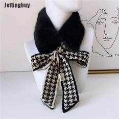 [Jettingbuy] Mùa Thu Mùa Đông Houndstooth Thời Trang Crochet Khăn Choàng Dệt Kim Khăn Quàng Cổ