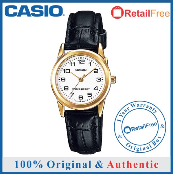 Casio 100% Original / 100% Authentic womens watch/ Casio watch women/ Casio watch for women/watch for woman/watch for women Casio/ women watch / Jam tangan wanita / Casio LTP-V001GL-7B Women Analog Black Leather Band Gold Case White Dial Original Malaysia