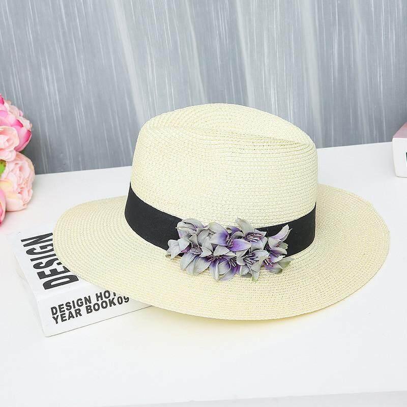 Dewittshop-Men Women Casual Wide Brimmed Floppy Foldable Straw Bow Beach Hat