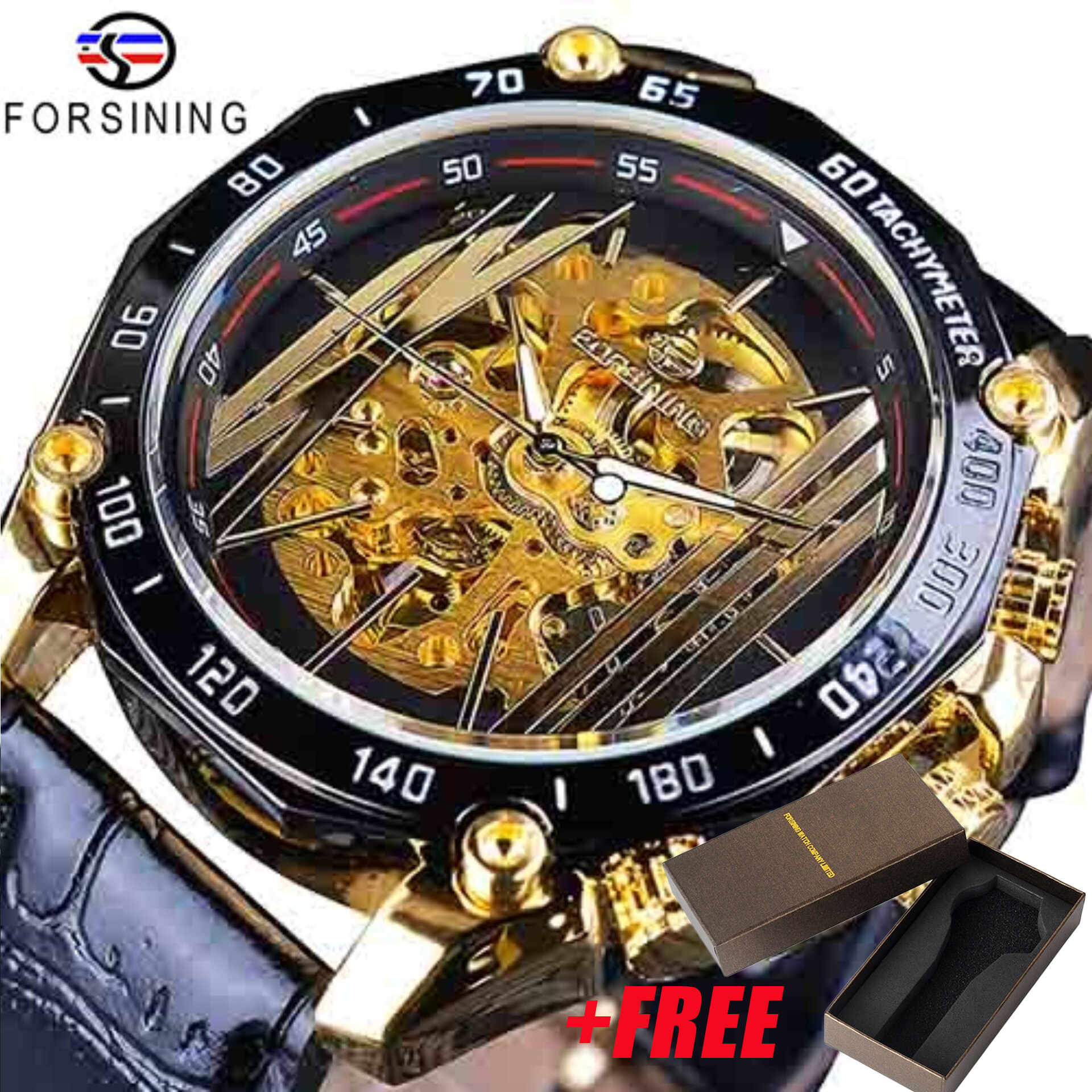 Forsining Big Dial Steampunk Design Luxury Golden Movement Watch For Men Creative Gear Openwork Watches Automatic Mechanical Wrist Watch Malaysia