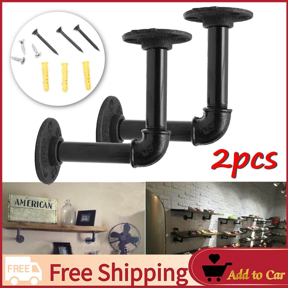 【Free Shipping】2pcs Vintage Retro Black Iron Industrial Pipe Shelf Bracket Holder With Screws