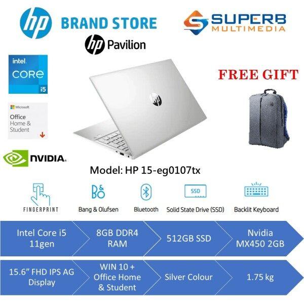 HP Pavilion Laptop 15-eg0107TX (Intel core i5 11gen, 8gb ram, 512gb ssd, Nvidia MX450 2gb, 15.6 FHD IPS, Win10, OPI, Silver) Malaysia