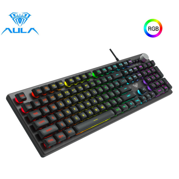 Aula F2028 Wired Mechanical RGB Gaming Membrane Keyboard 104 Keys Macro Programming Back light Keyboard For Desktop Laptop PC Singapore