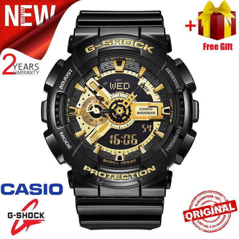 ***(Free Shipping) Original Casio G Shock_GA-110GB-1A Men Sport Watch Duo W/Time 200M Water Resistant Shockproof and Waterproof World Time LED Auto Light Wist Sports Watch with 2 Year Warranty GA110/GA-110 Malaysia