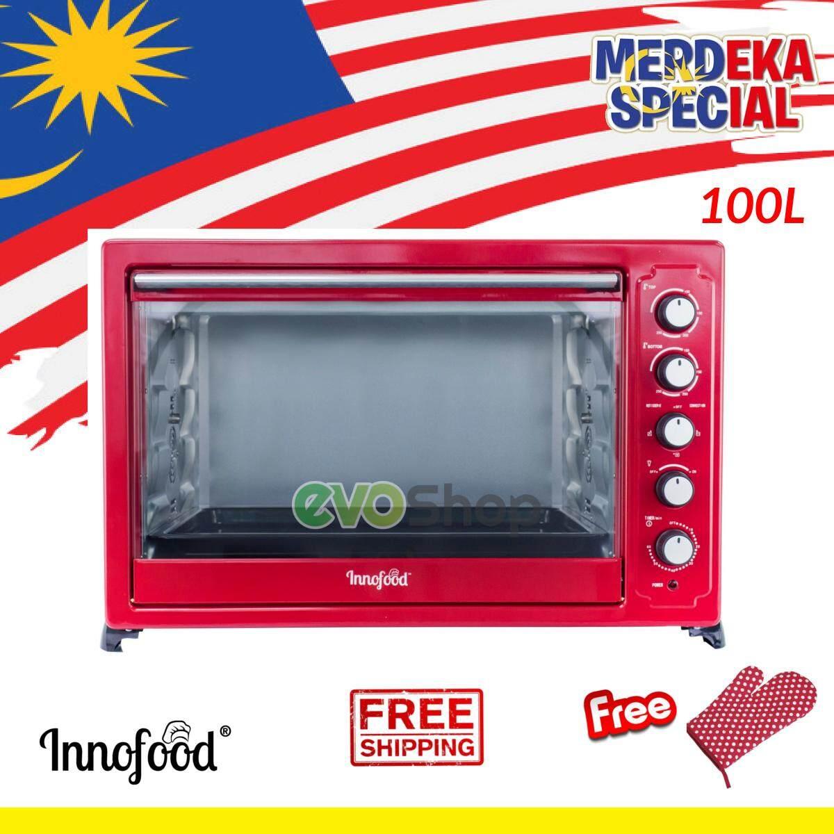 (FREE Gift!) INNOFOOD Independent Temperature Control Large Big Electric Oven KT-CL100R (100 Liter) Red Ketuhar Elektrik