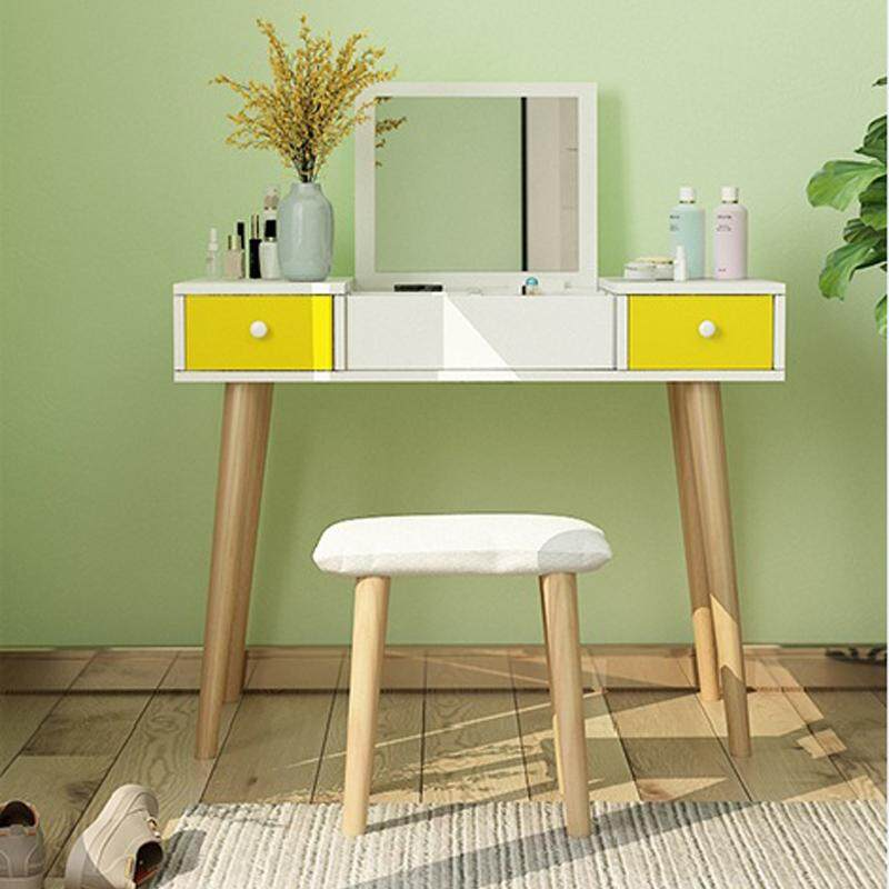 90cm in Width, Dressing Table Solid Wood European Bedroom Dressing Table with Stool, Princess Makeup Cabinet Luxury flip Small Dressing Table
