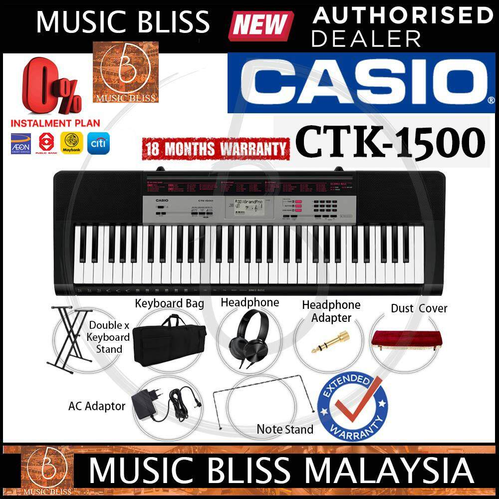 Casio CTK-1500 61-Keys Portable Keyboard with Stand, Bag, Headphone & Dust  Cover (CTK1500) *Crazy Sales Promotion*