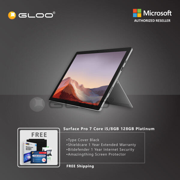 Microsoft Surface Pro 7 Core i5/8G RAM - 128GB Platinum - VDV-00012 + Surface Pro Type Cover Black + Shield Care 1 Year Extended Warranty+ Bitdefender 1Yr + Amazingthing Screen Protector Malaysia