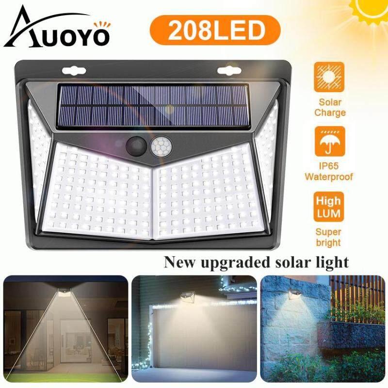 Auoyo 208LED Solar Lights Outdoor Lighting Wireless Sensor Solar Lights Outdoor 270° Wide Angle Lamp IP65 Waterproof for Yard Garage Deck Pathway Porch