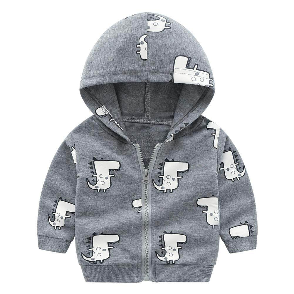26596e559 Cotton Cartoon Dinosaur Zipper Coat Warm Casual Toddler Boys Hooded Jacket