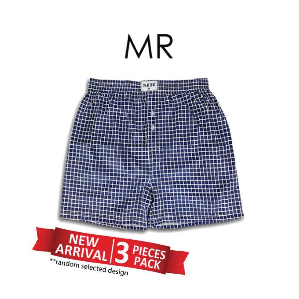 cedb3d8afd05 MR Comfort ASSORTED PATTERN / PLAIN Polyester Men Boxer Underwear Seluar  Pendek (3pcs)