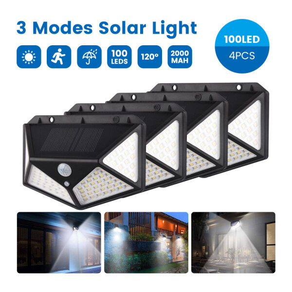 【4 Pack】100 LED Solar Lights Outdoor Lighting Wireless Motion Sensor Lights IP65 Waterproof 270°Wide Angle Security Wall Lights with 3 Modes for Yard Stairs Garage Fence Porch